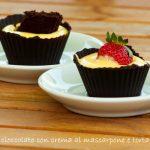 Cestini al cioccolato con crema al mascarpone e torta Barozzi