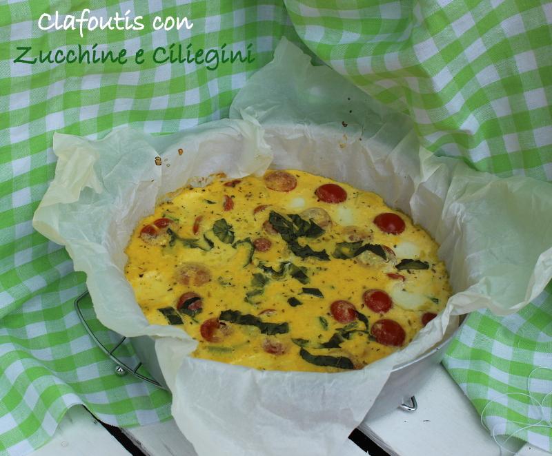 clafoutis con zucchine e pomodorini