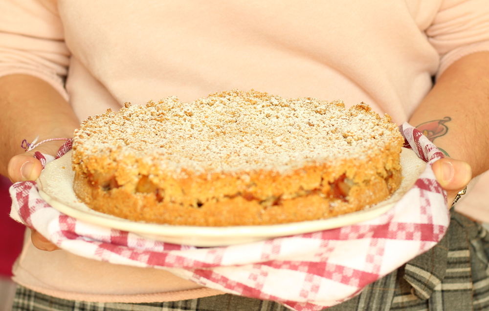 apple crumble con frolla al burro d'arachidi