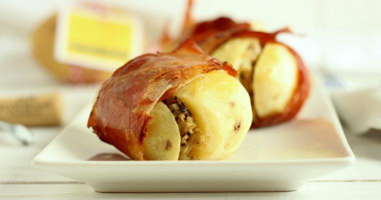 Patate ripiene con speck carciofi ed olive