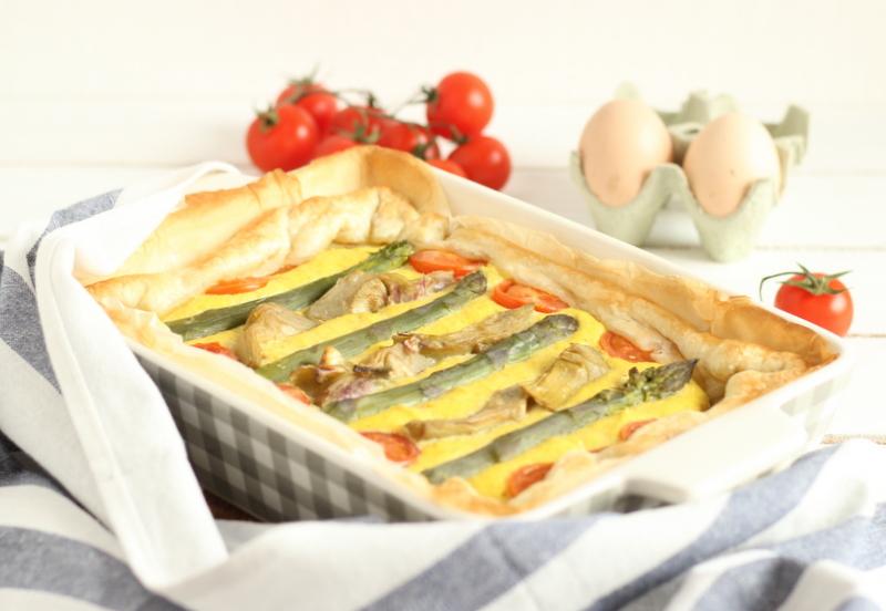 torta salata asparagi e carciofi