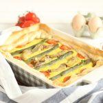 Torta salata carciofi asparagi e pomodorini
